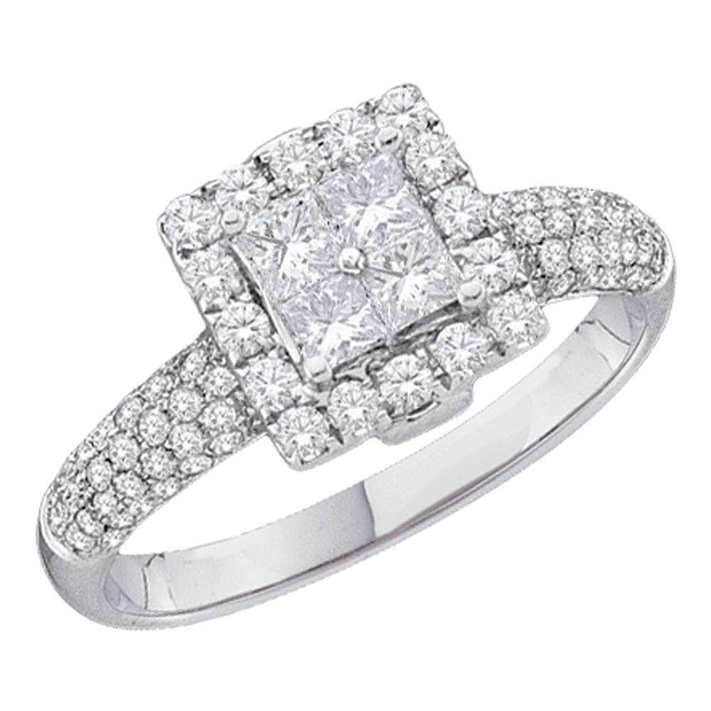 14kt White Gold Womens Princess Diamond Cluster Halo Bridal Wedding Engagement Ring 1.00 Cttw