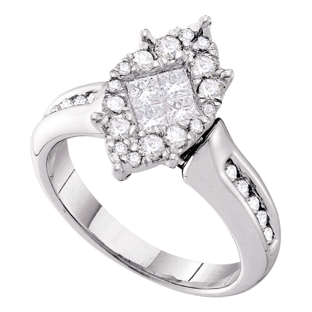 14kt White Gold Womens Princess Round Diamond Soleil Cluster Bridal Wedding Engagement Ring 1.00 Cttw