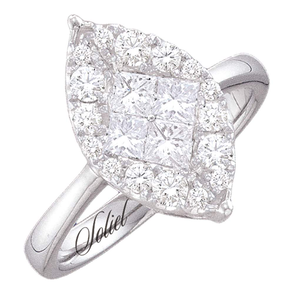 14kt White Gold Womens Princess Diamond Soleil Cluster Bridal Wedding Engagement Ring 1/4 Cttw