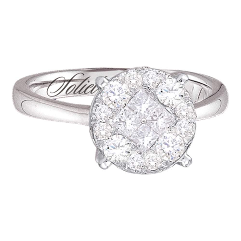 14kt White Gold Womens Diamond Soleil Cluster Bridal Wedding Engagement Ring 1.00 Cttw