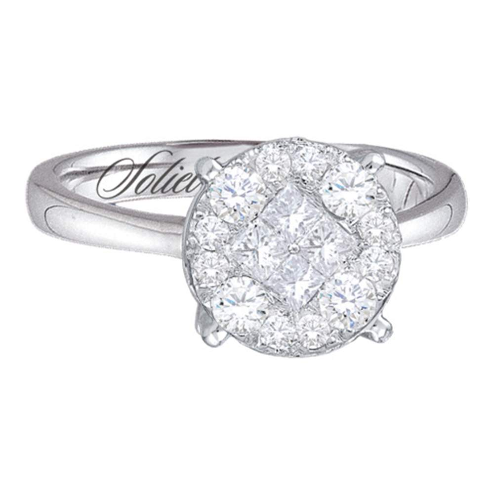 14kt White Gold Womens Princess Round Diamond Soleil Cluster Bridal Wedding Engagement Ring 1-1/2 Cttw