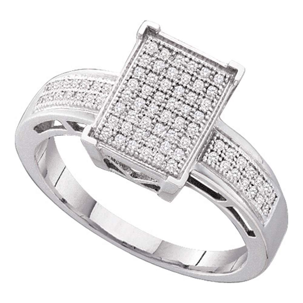 10kt White Gold Womens Round Diamond Rectangle Cluster Bridal Wedding Engagement Ring 1/5 Cttw
