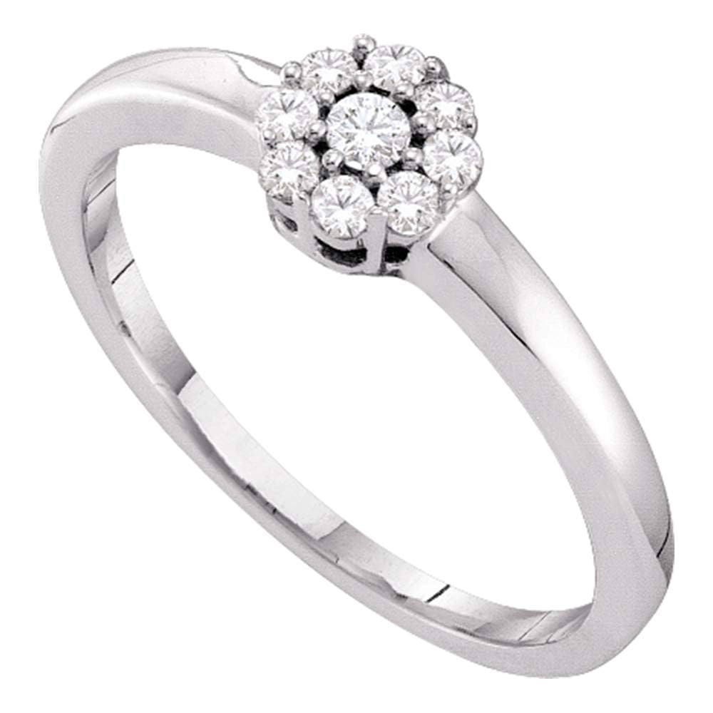 14kt White Gold Womens Round Diamond Cluster Bridal Wedding Engagement Ring 1/5 Cttw