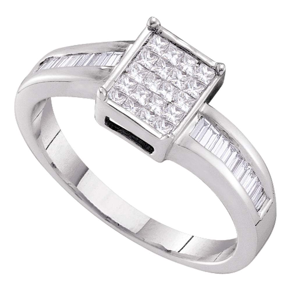 14kt White Gold Womens Princess Diamond Square Cluster Bridal Wedding Engagement Ring 3/8 Cttw