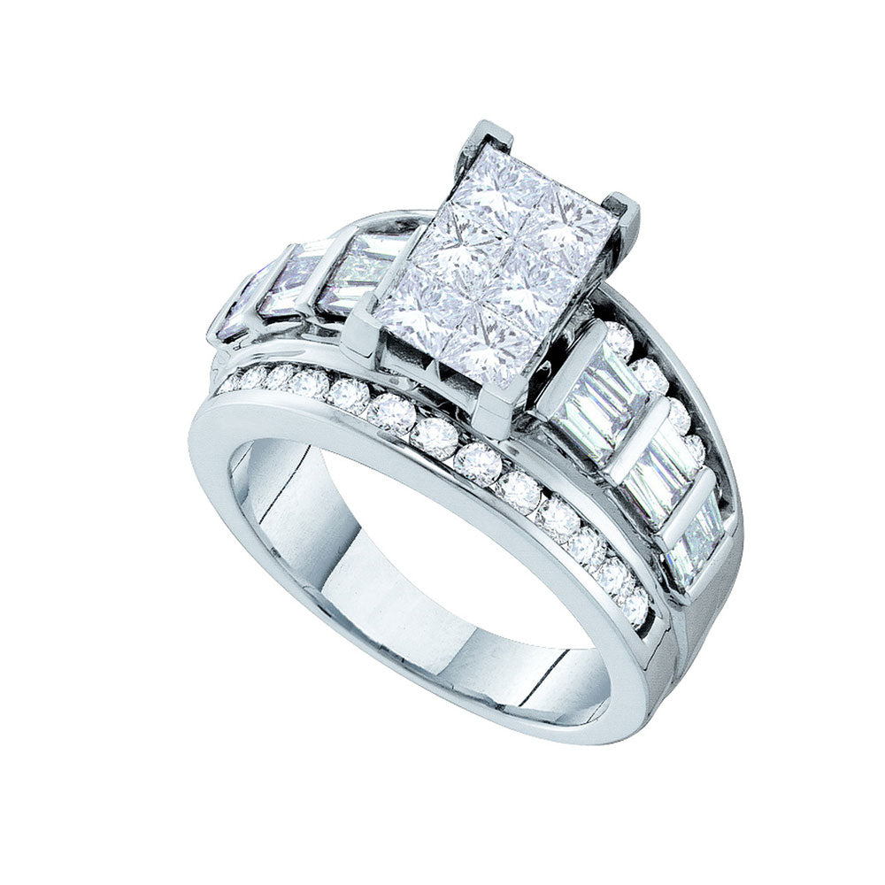 14kt White Gold Womens Princess Diamond Elevated Cluster Bridal Wedding Engagement Ring 3.00 Cttw