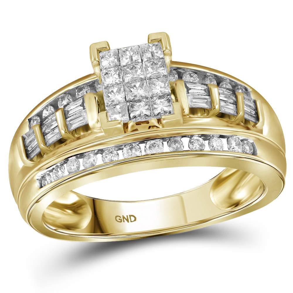 10kt Yellow Gold Womens Princess Diamond Cluster Bridal Wedding Engagement Ring 1/2 Cttw - Size 8