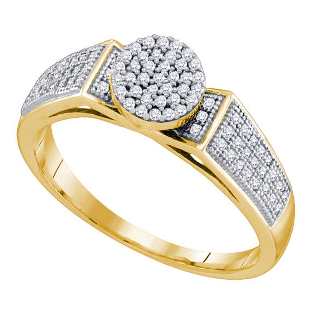 10kt Yellow Gold Womens Round Diamond Cradled Cluster Bridal Ring 1/4 Cttw