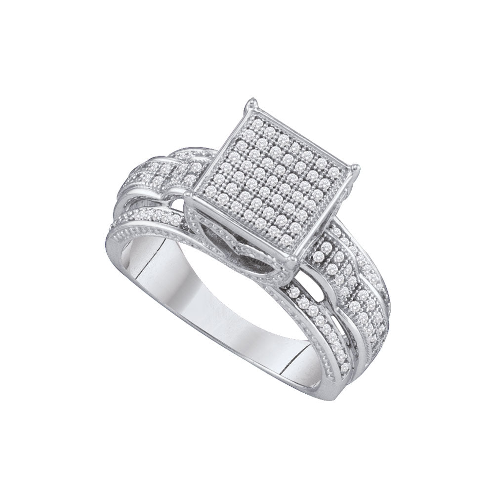 10kt White Gold Womens Round Diamond Elevated Square Cluster Bridal Wedding Engagement Ring 3/8 Cttw