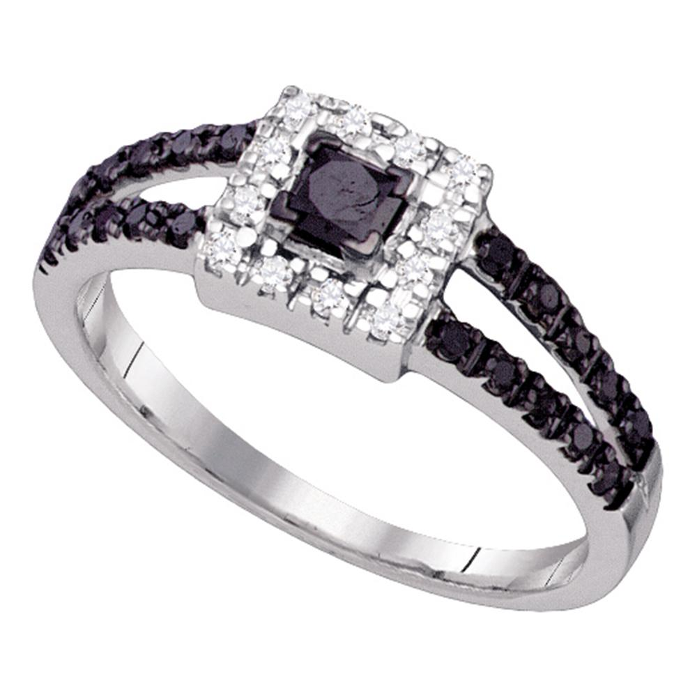 14kt White Gold Womens Princess Black Color Enhanced Diamond Halo Bridal Wedding Engagement Ring 1/2 Cttw