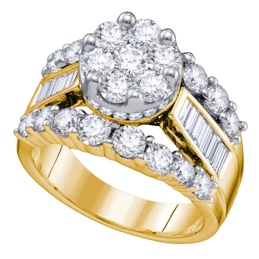 14kt Yellow Gold Womens Round Diamond Cluster Bridal Wedding Engagement Ring 3.00 Cttw