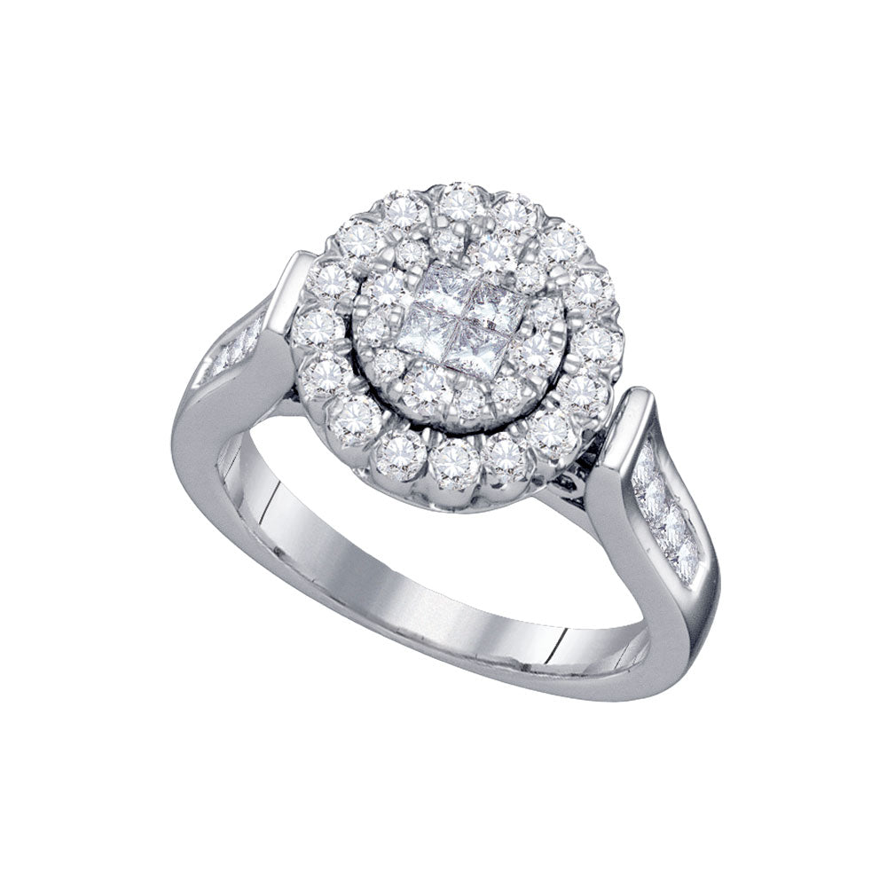 14kt White Gold Womens Princess Round Diamond Soleil Bridal Wedding Engagement Ring 1.00 Cttw