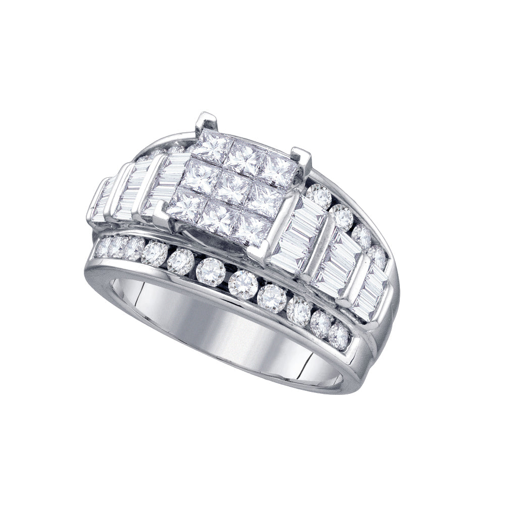 14kt White Gold Womens Princess Diamond Elevated Cluster Bridal Wedding Engagement Ring 2.00 Cttw