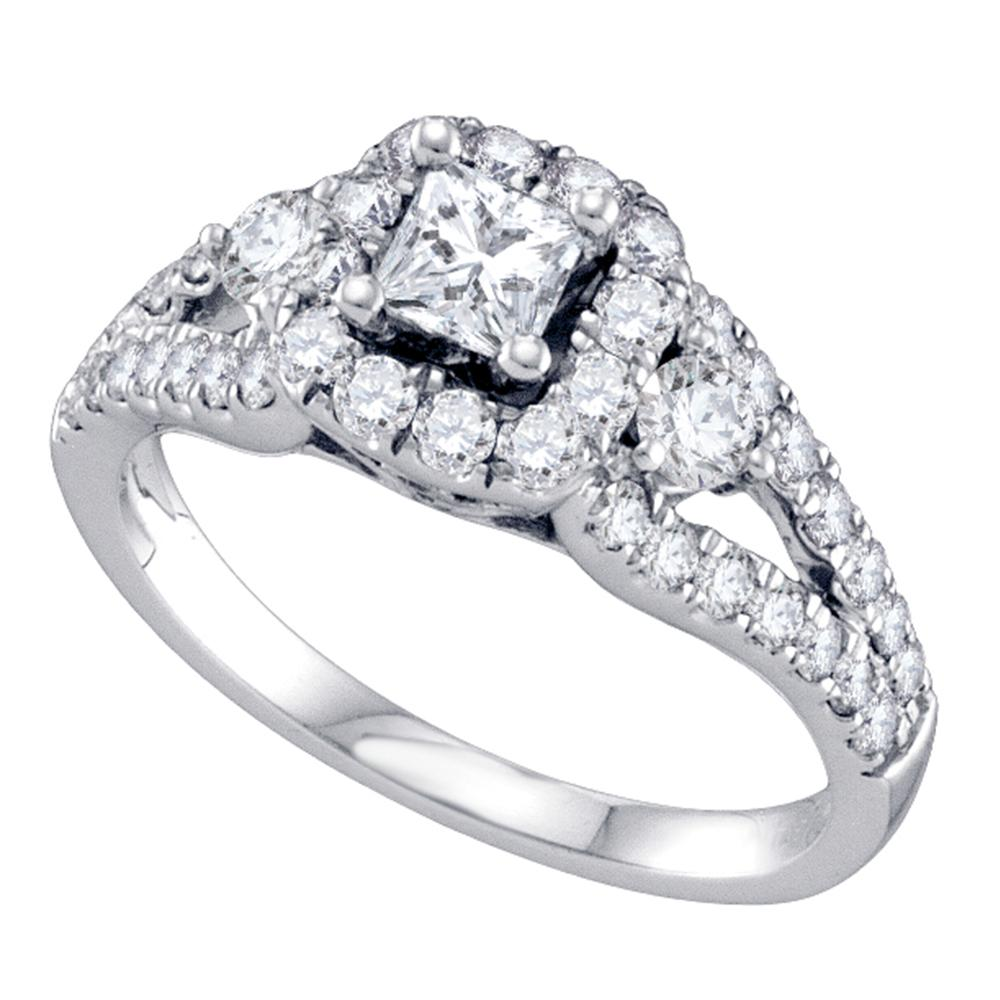 14kt White Gold Womens Princess Diamond Solitaire Halo Bridal Wedding Engagement Ring 1-1/4