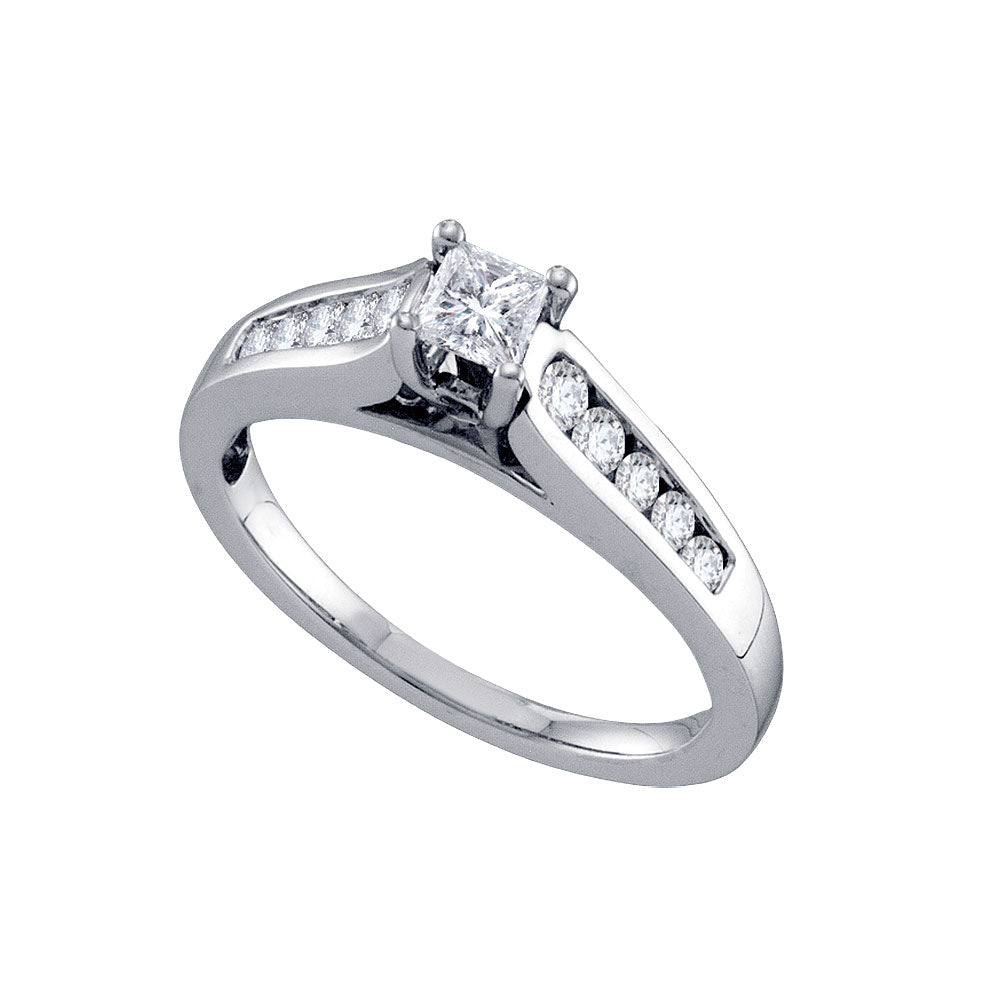 14k White Gold Womens Princess Diamond Solitaire Bridal Wedding Engagement Ring 1/2 Cttw