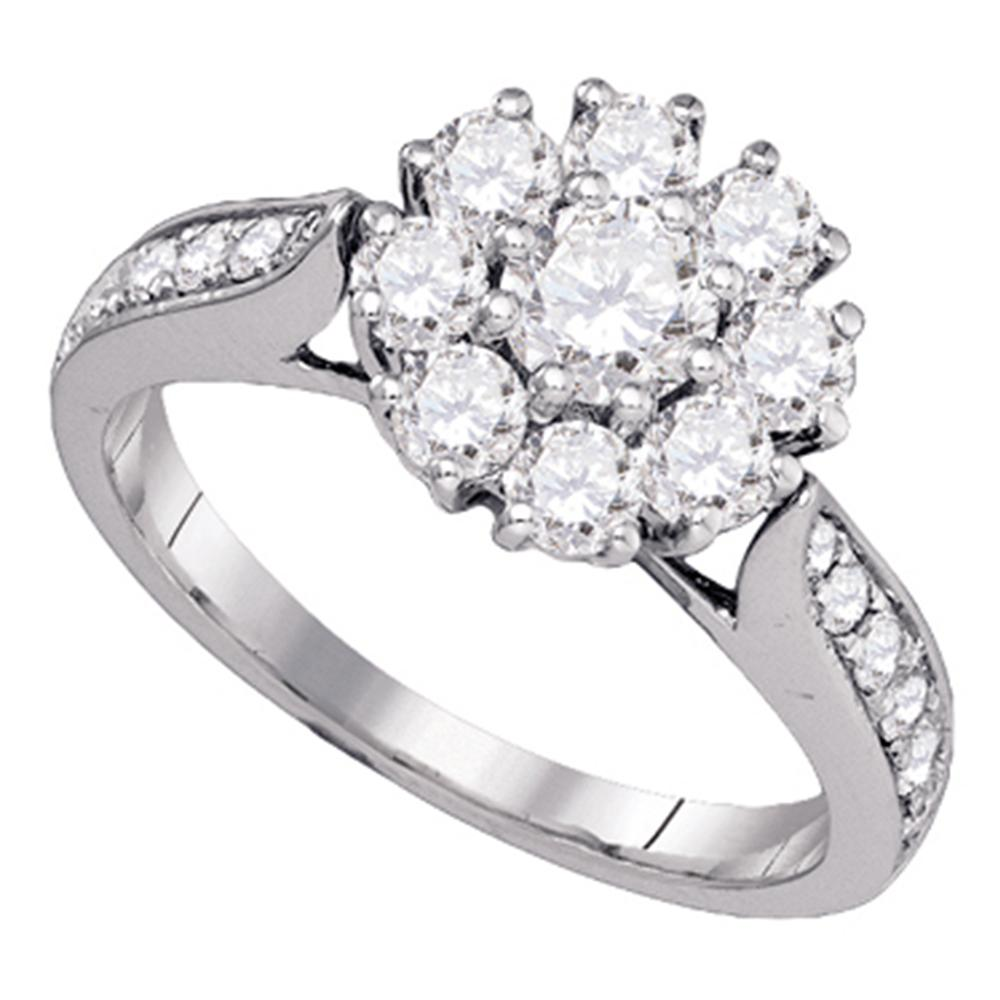14kt White Gold Womens Round Diamond Cluster Bridal Wedding Engagement Ring 1-1/2 Cttw (Certified)