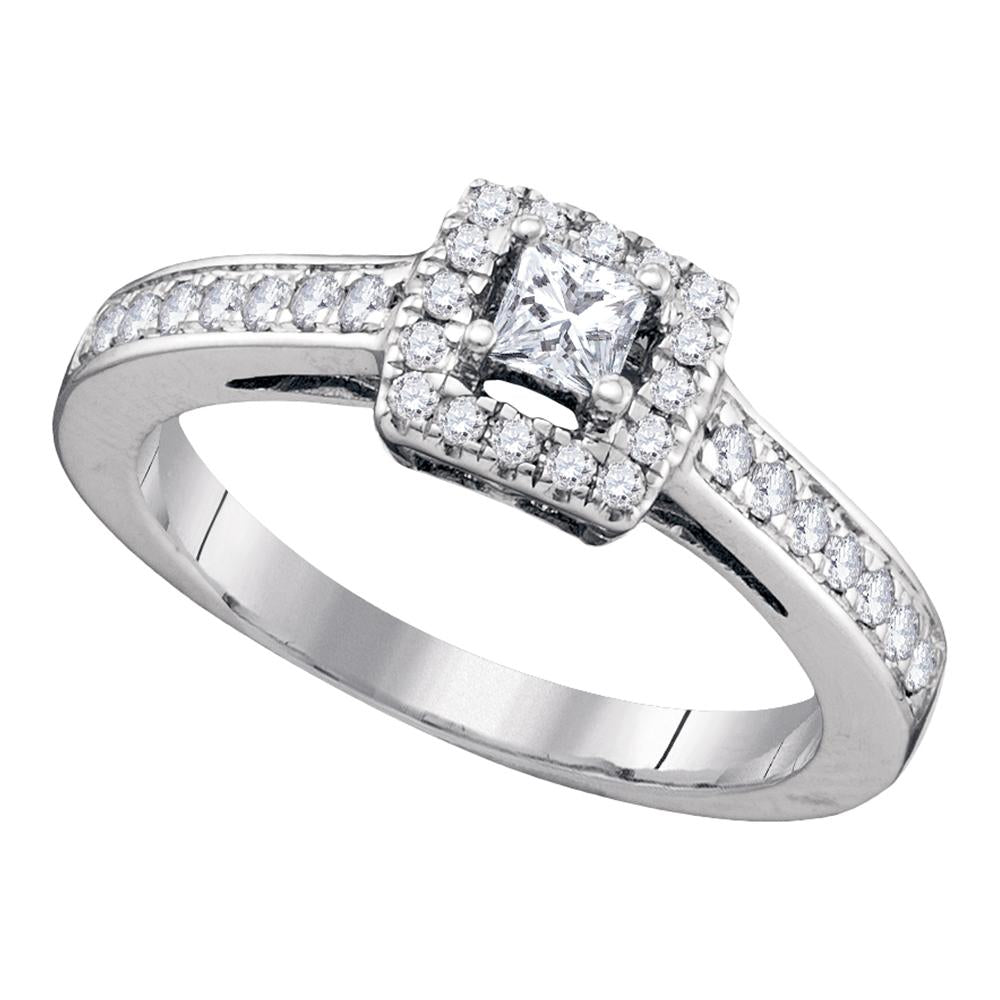 14kt White Gold Womens Princess Diamond Solitaire Bridal Wedding Engagement Ring 1/2 Cttw