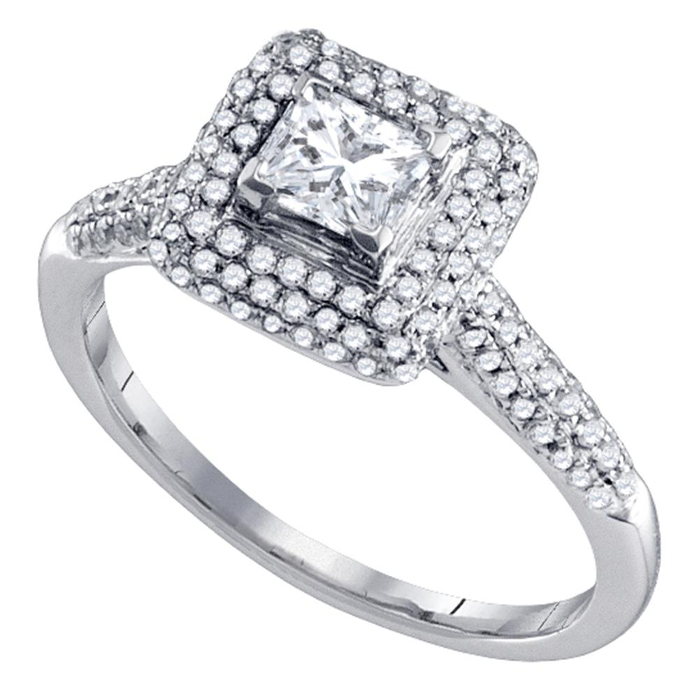 14kt White Gold Womens Princess Diamond Solitaire Halo Bridal Wedding Engagement Ring 3/8 Cttw