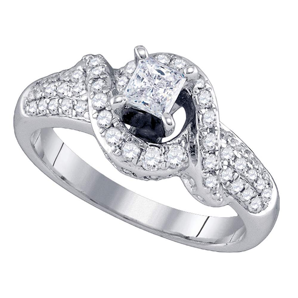14kt White Gold Womens Princess Diamond Solitaire Swirl Bridal Wedding Engagement Ring 7/8 Cttw