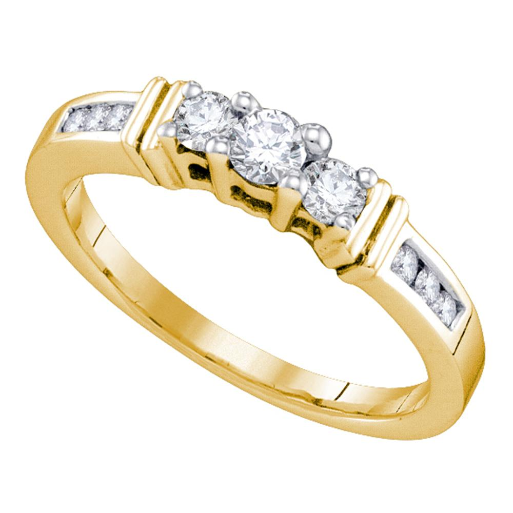14kt Yellow Gold Womens Round Diamond 3-stone Bridal Wedding Engagement Ring 1/3 Cttw