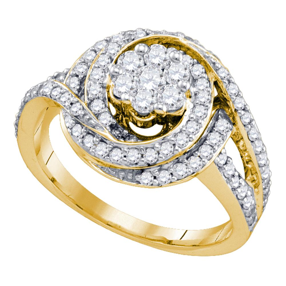 10kt Yellow Gold Womens Round Diamond Flower Cluster Bridal Wedding Engagement Ring 1.00 Cttw