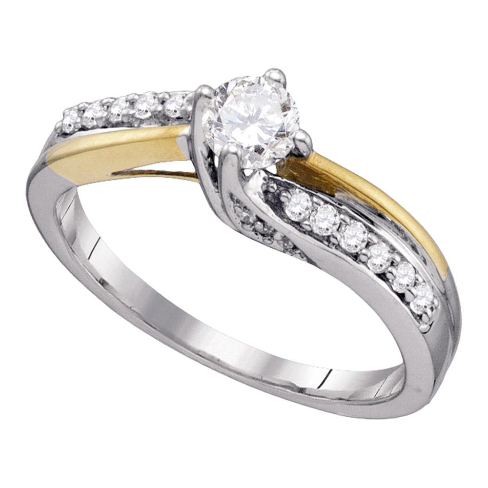 14k White Gold Womens Round Diamond Solitaire 2-Tone Bridal Wedding Engagement Ring 1/2 Cttw