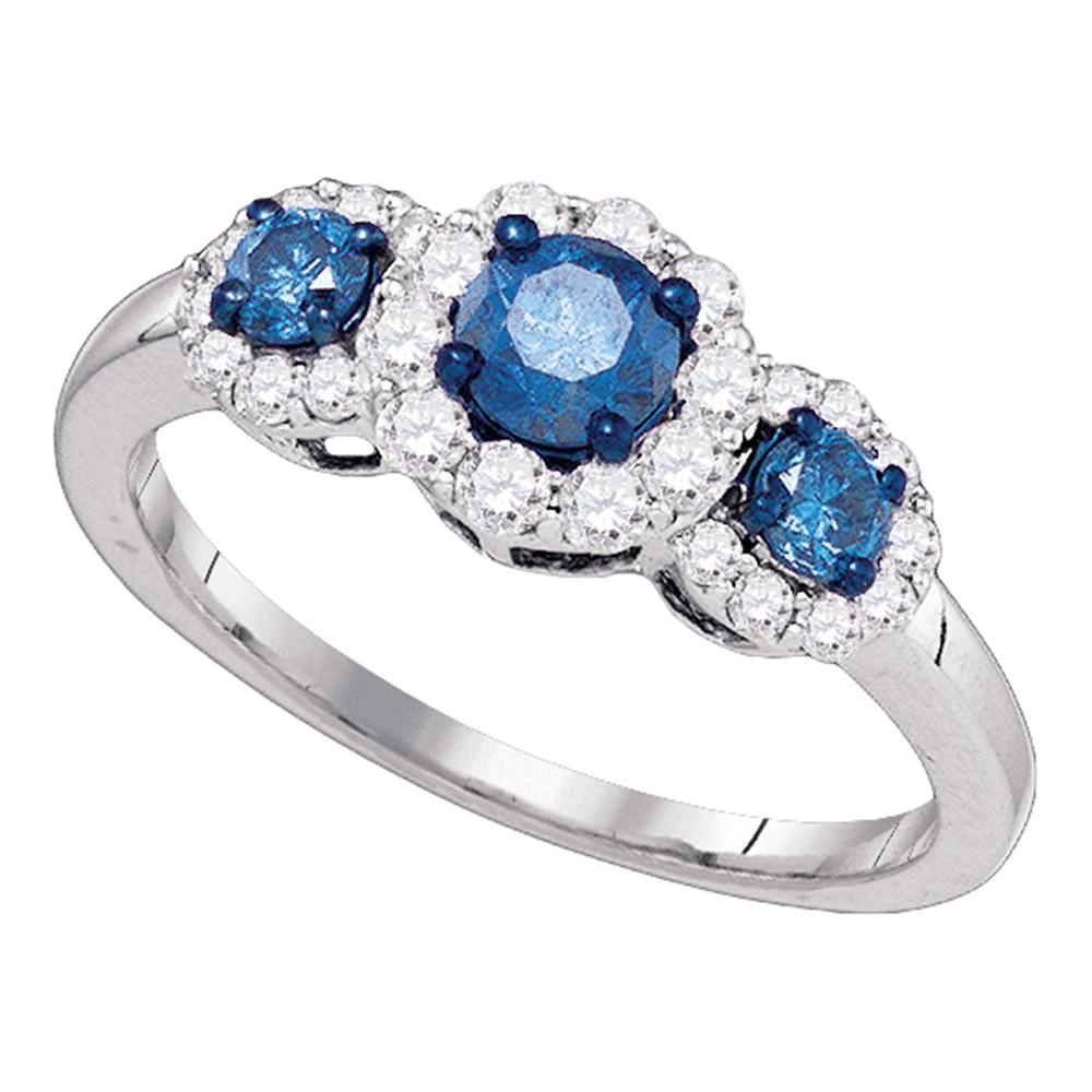 10kt White Gold Womens Round Blue Color Enhanced Diamond 3-stone Bridal Wedding Engagement Ring 1.00 Cttw