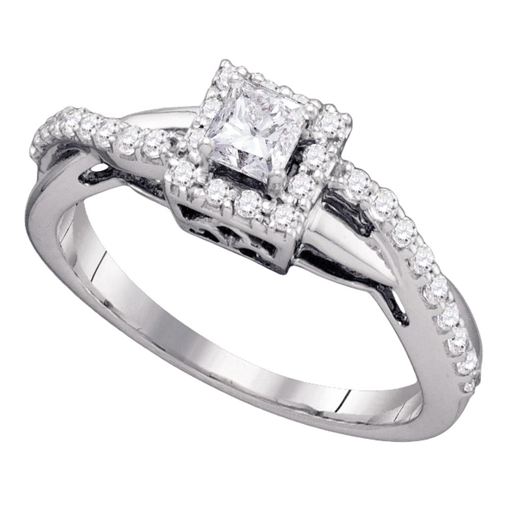 14kt White Gold Womens Princess Diamond Princess Bridal Wedding Engagement Ring 1/2 Cttw