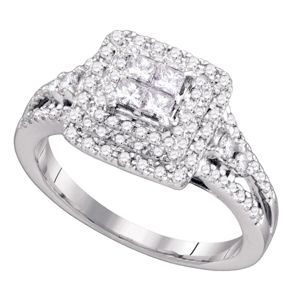 14k White Gold Princess Diamond Invisible-set Womens Bridal Wedding Engagement Ring 3/4 Cttw