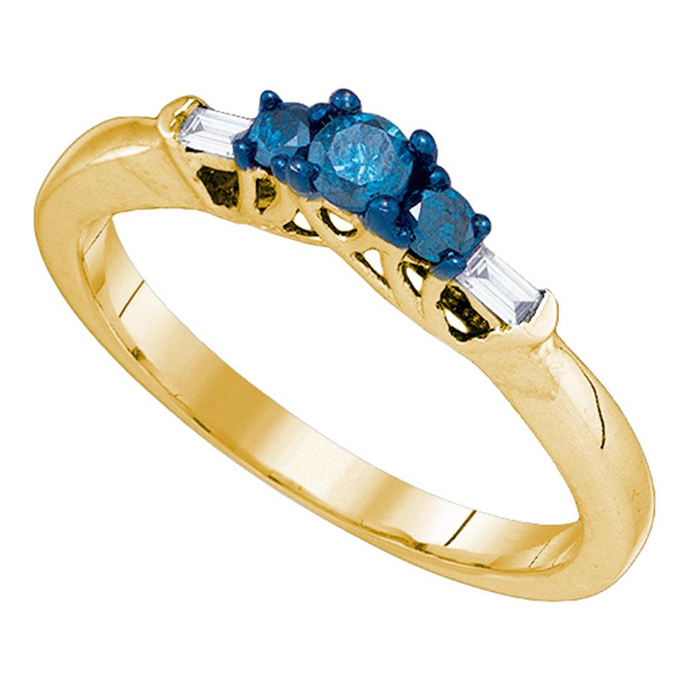 10kt Yellow Gold Womens Round Blue Color Enhanced Diamond 3-stone Bridal Wedding Engagement Ring 1/4 Cttw