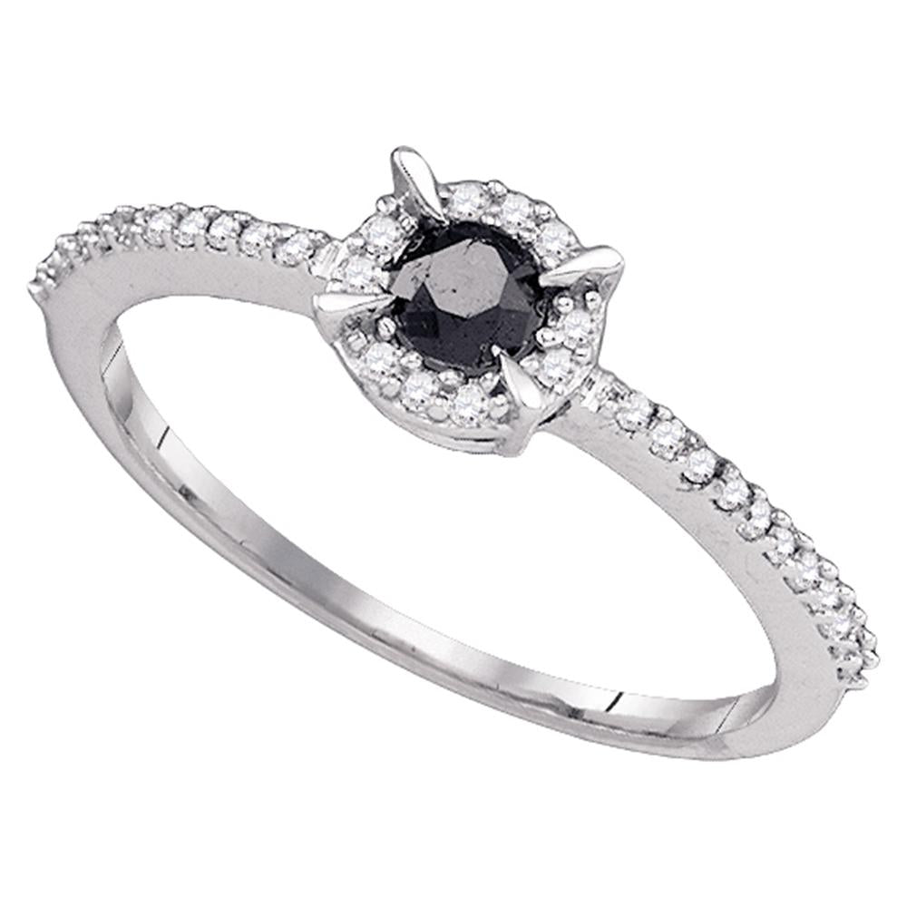 10kt White Gold Womens Round Black Color Enhanced Diamond Solitaire Bridal Wedding Engagement Ring 3/8 Cttw