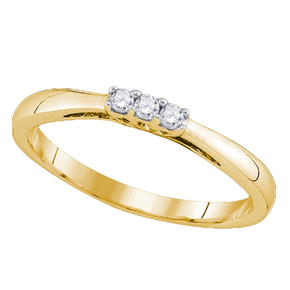 10kt Yellow Gold Womens Round Diamond 3-stone Bridal Wedding Engagement Ring 1/20 Cttw