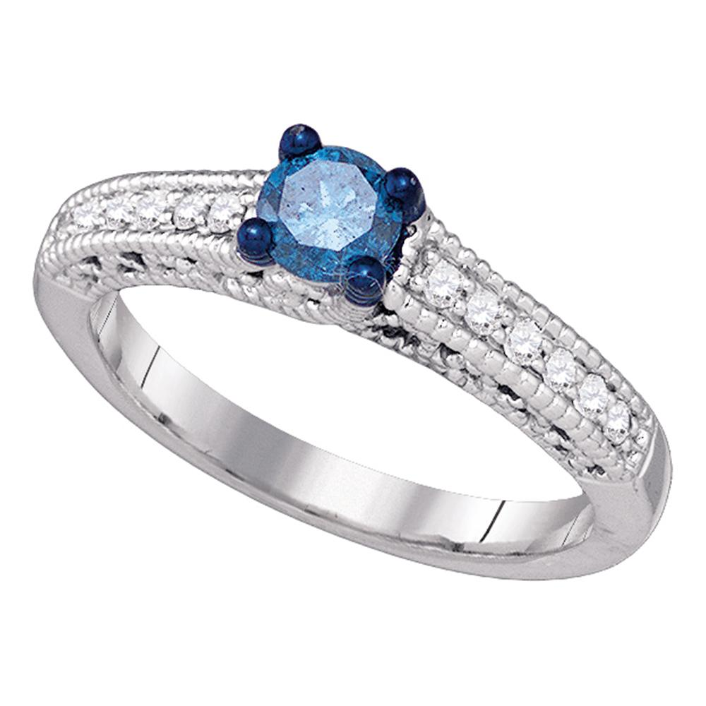 10kt White Gold Womens Round Blue Color Enhanced Diamond Milgrain Bridal Wedding Engagement Ring 1/2 Cttw