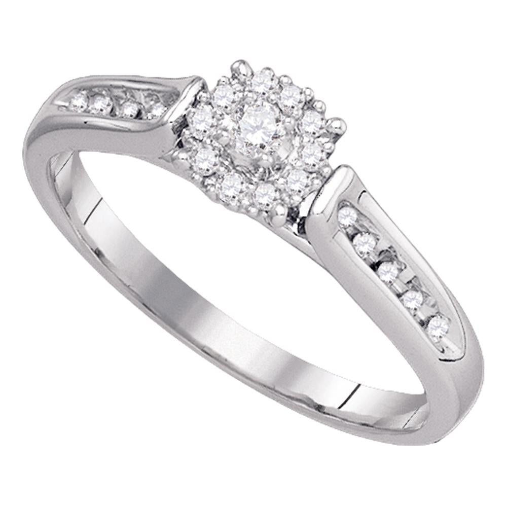 14kt White Gold Womens Round Diamond Round Bridal Wedding Engagement Ring 3/8 Cttw