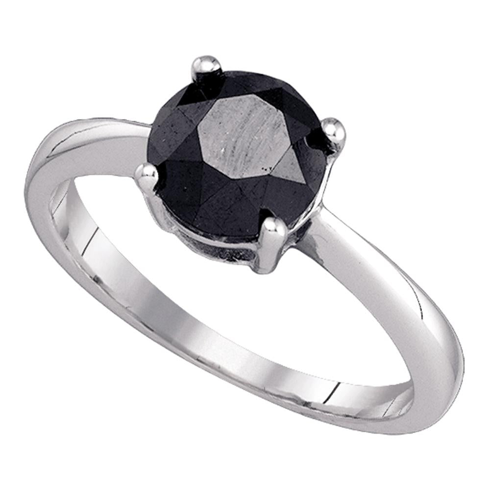 10kt White Gold Womens Round Black Color Enhanced Diamond Solitaire Bridal Wedding Engagement Ring 2.00 Cttw