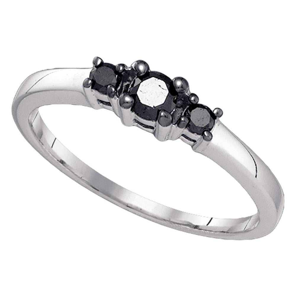 10k White Gold Black Color Enhanced 3-stone Diamond Womens Bridal Wedding Engagement Ring 1/4 Cttw