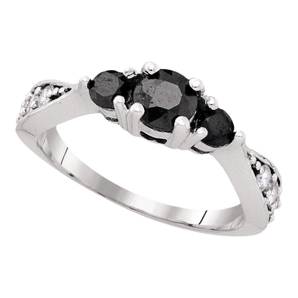 10kt White Gold Womens Round Black Color Enhanced Diamond 3-stone Bridal Wedding Engagement Ring 1.00 Cttw