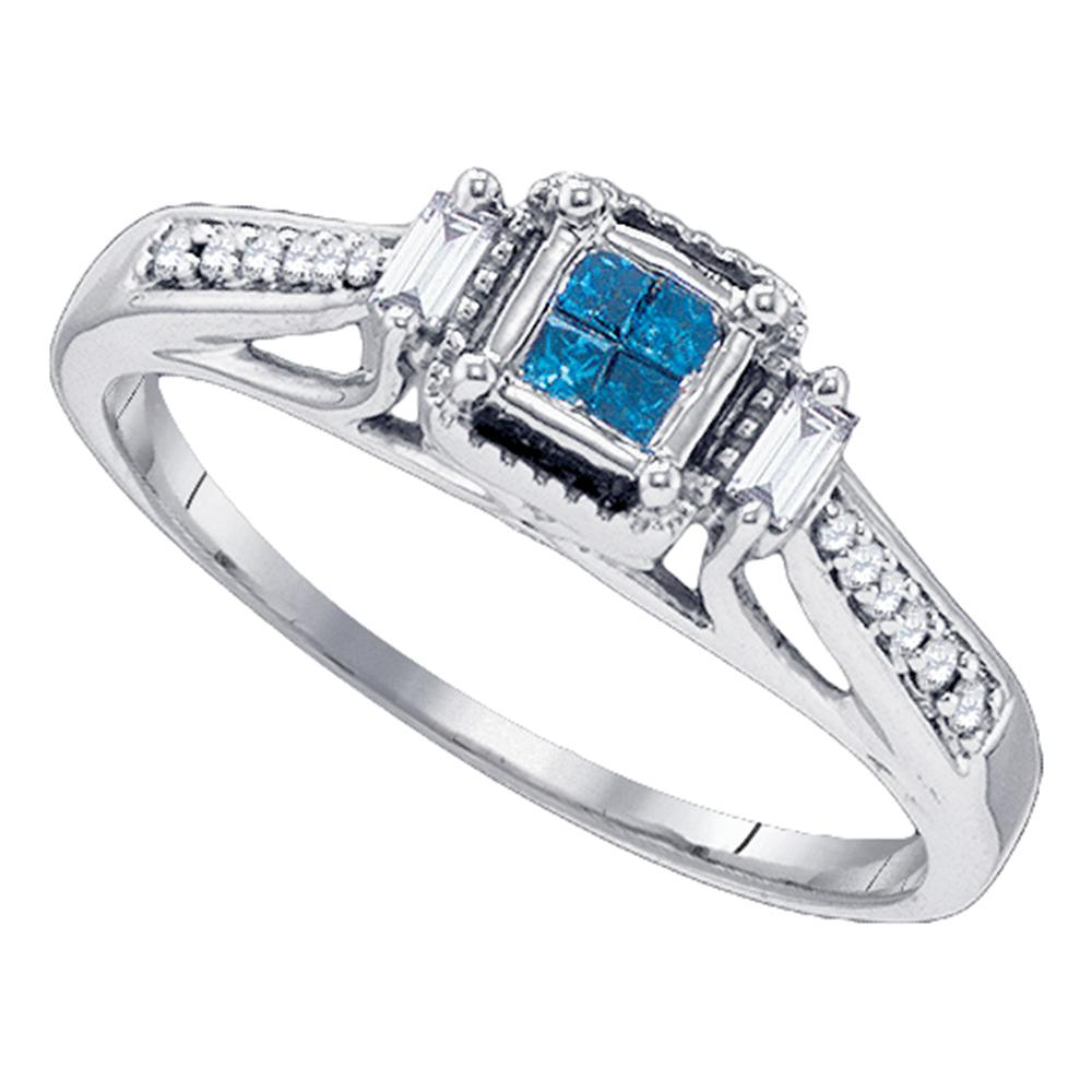 10kt White Gold Womens Princess Blue Color Enhanced Diamond Bridal Wedding Engagement Ring 1/5 Cttw