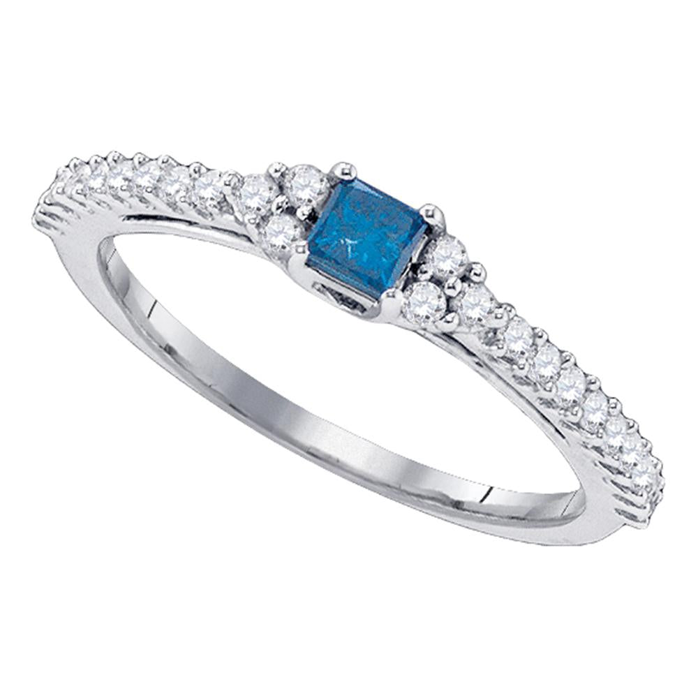 10kt White Gold Womens Princess Blue Color Enhanced Diamond Bridal Wedding Engagement Ring 1/2 Cttw
