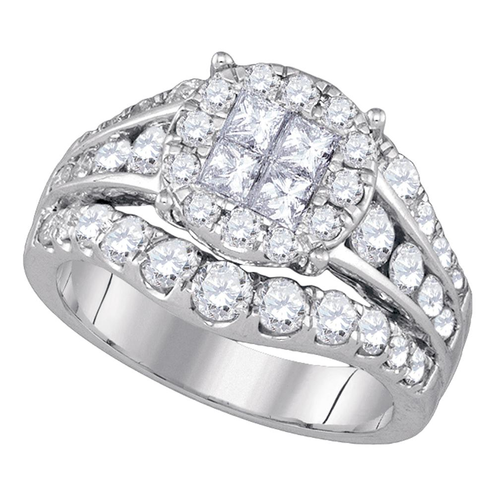 14kt White Gold Womens Princess Diamond Soleil Halo Bridal Wedding Engagement Ring 2-1/10 Cttw