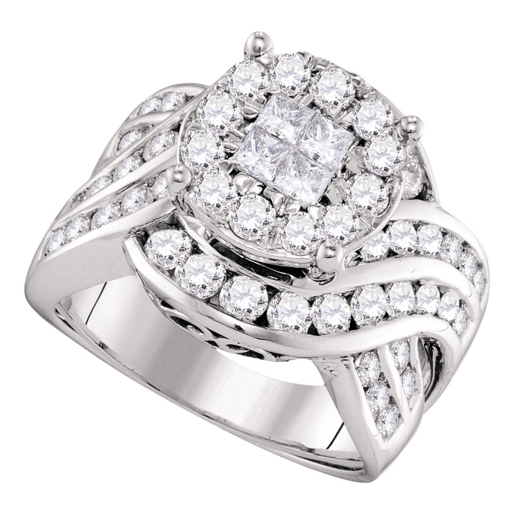 14kt White Gold Womens Princess Round Diamond Soleil Cluster Bridal Wedding Engagement Ring 2-1/2 Cttw