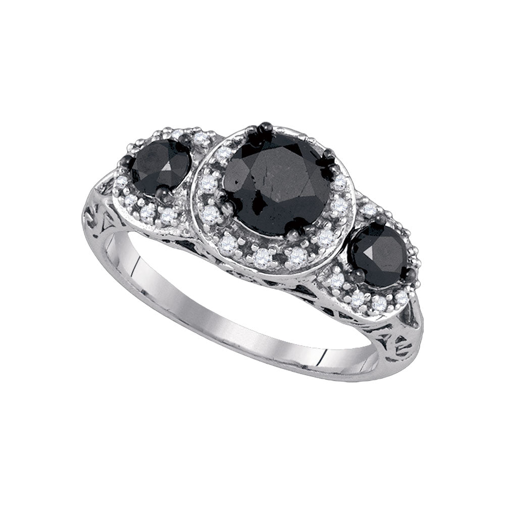 10kt White Gold Womens Round Black Color Enhanced Diamond 3-stone Bridal Wedding Engagement Ring 2.00 Cttw