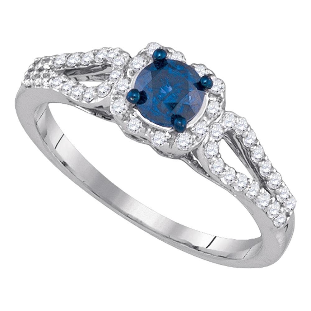 10kt White Gold Womens Round Blue Color Enhanced Diamond Solitaire Bridal Wedding Engagement Ring 3/4 Cttw