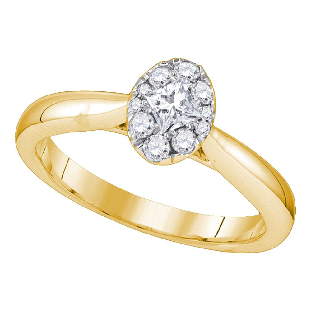 14kt Yellow Gold Womens Princess Diamond Solitaire Bridal Wedding Engagement Ring 3/8 Cttw