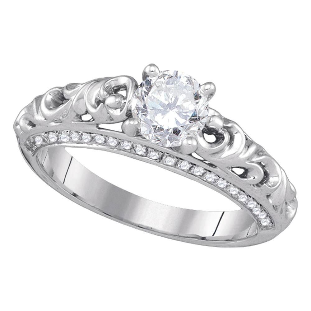 14kt White Gold Womens Round Diamond Solitaire Bridal Wedding Engagement Ring 1.00 Cttw