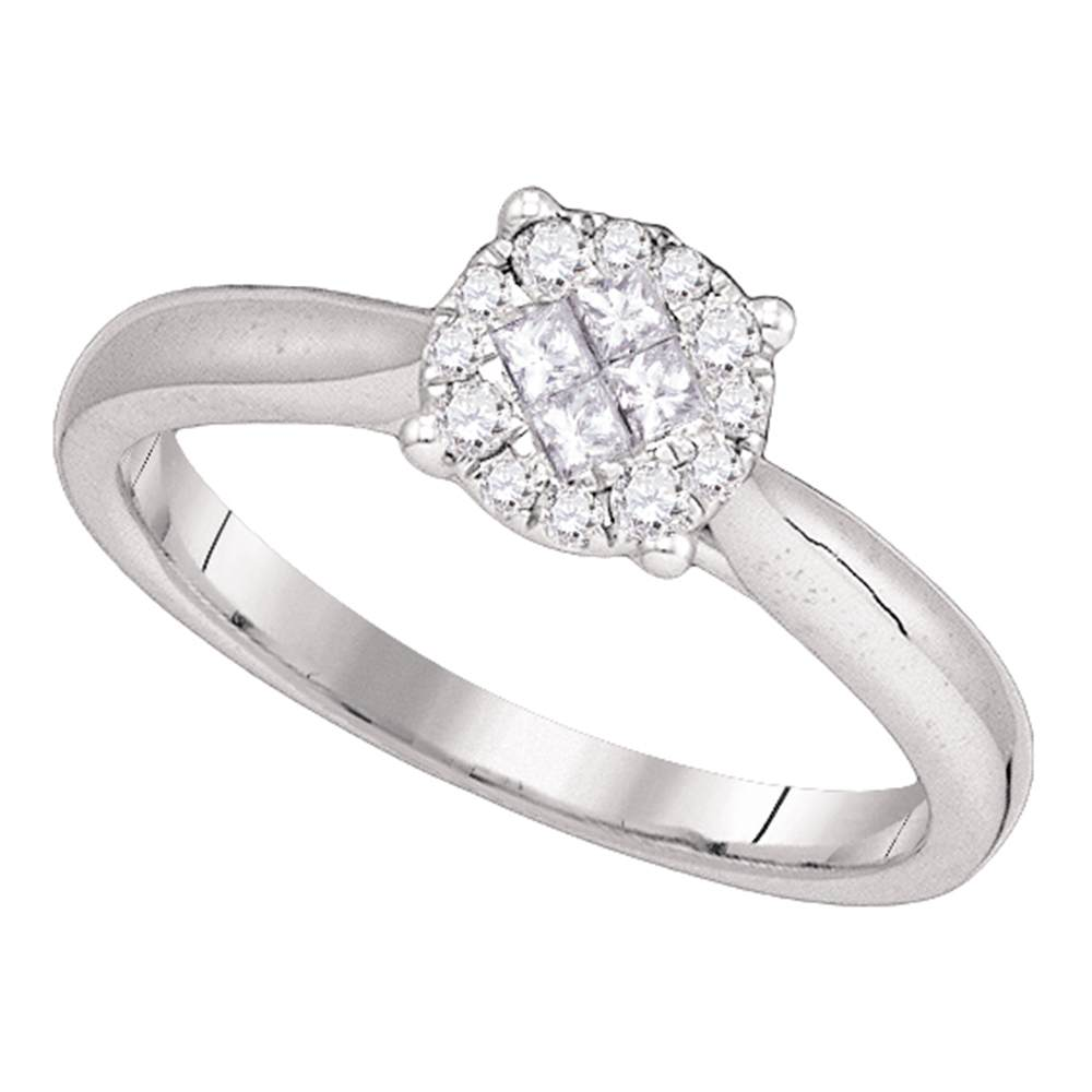 14kt White Gold Womens Princess Round Diamond Soleil Cluster Bridal Wedding Engagement Ring 1/4 Cttw
