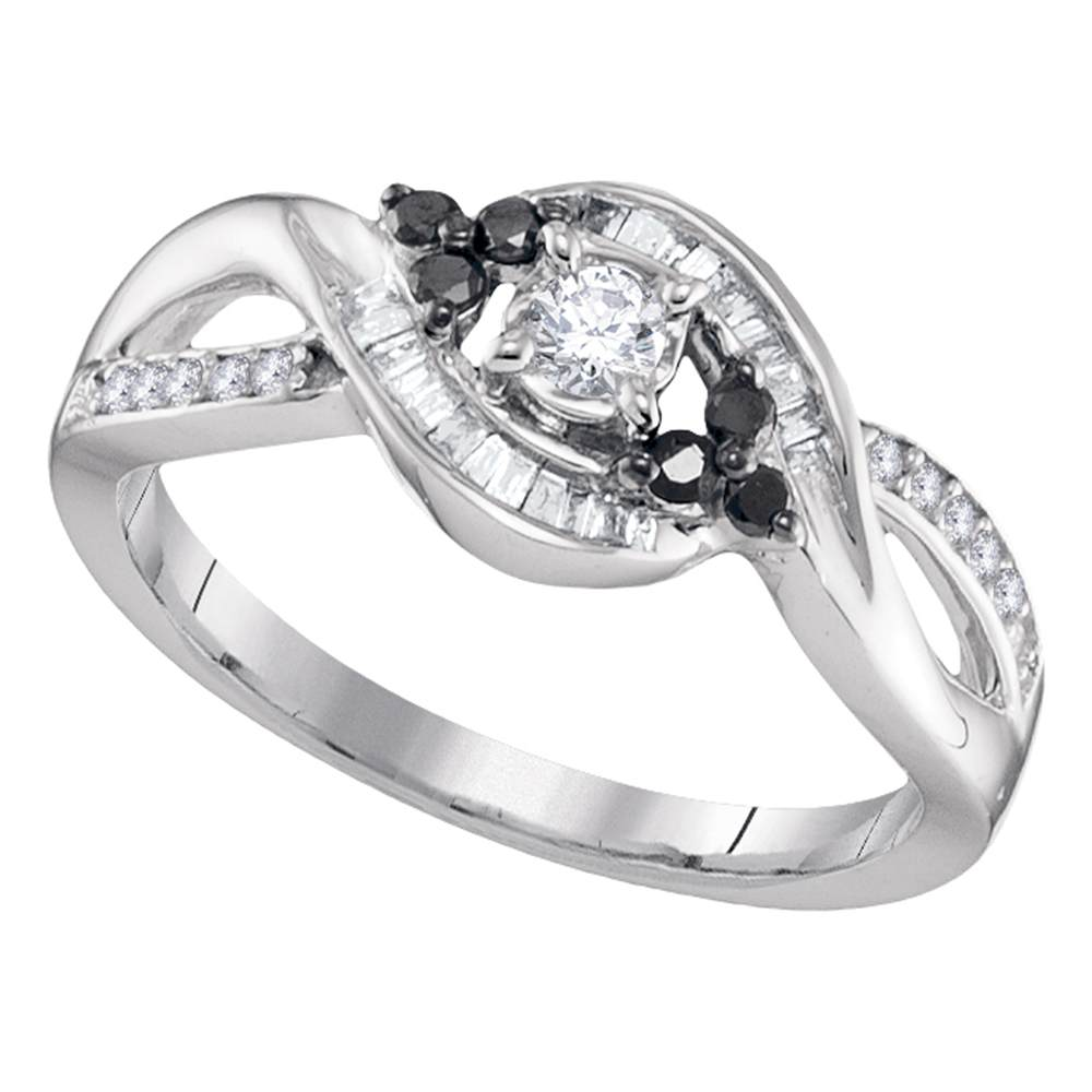 10kt White Gold Womens Round Diamond Solitaire Black-accent Bridal Wedding Engagement Ring 1/3 Cttw