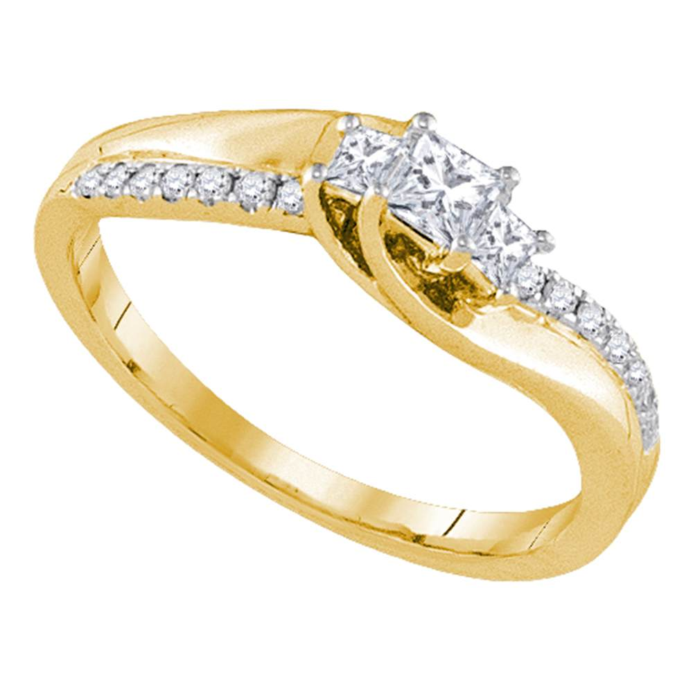 14k Yellow Gold 3-stone Princess Diamond Bridal Wedding Engagement Anniversary Ring 1/3 Cttw