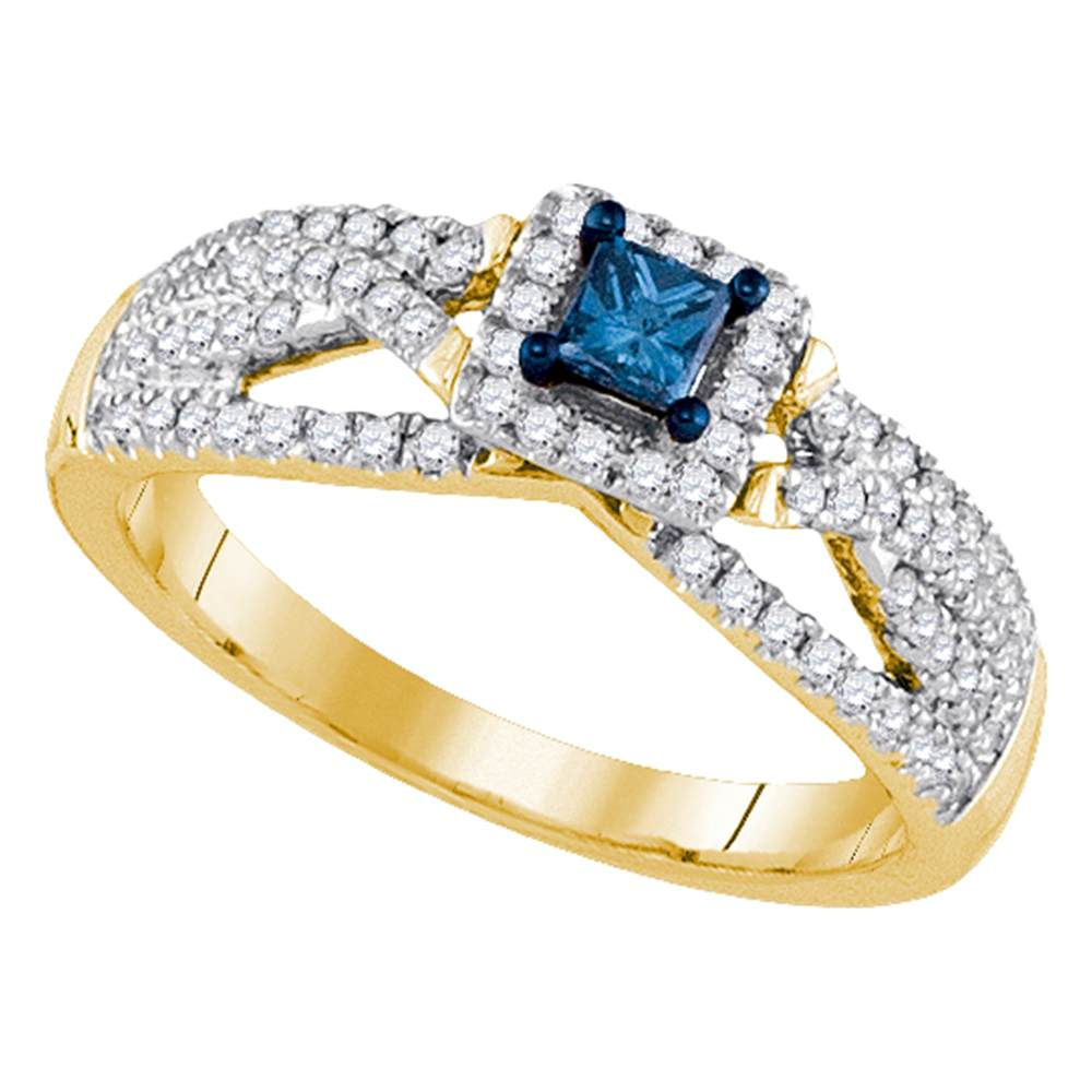 14kt Yellow Gold Womens Princess Blue Color Enhanced Diamond Solitaire Bridal Wedding Engagement Ring 1/2 Cttw