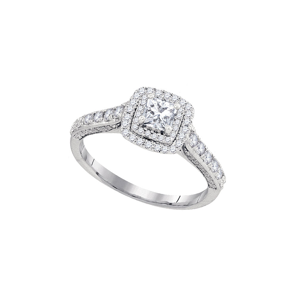 14kt White Gold Womens Princess Diamond Solitaire Bridal Wedding Engagement Ring 1.00 Cttw (Certified)