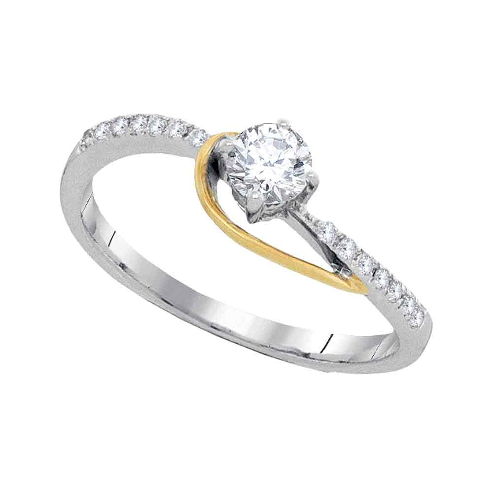 10kt Two-tone Gold Womens Round Diamond Solitaire Bridal Wedding Engagement Ring 1/5 Cttw